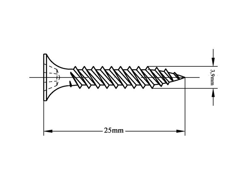 VeroBoard Rapid Schrauben Innen Metall-Unterkonstruktion 3,9 X 25mm 1000 Stück Einlagige Beplankung Inkl. Bit