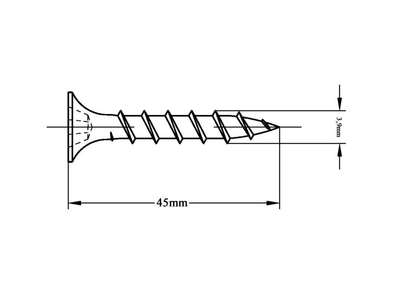 VeroBoard Rapid Schrauben Innen Holz-Unterkonstruktion 3,9 X 45mm 1000 Stück Zweilagige Beplankung Inkl. Bit